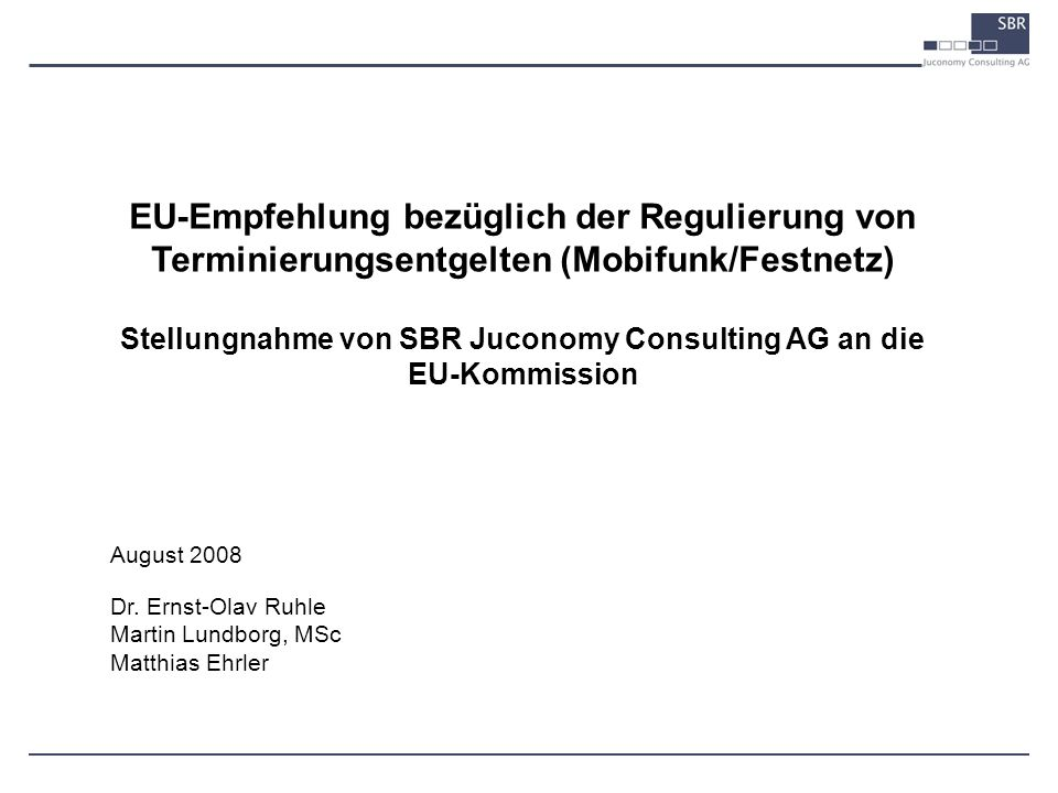Stellungnahme von SBR Juconomy Consulting AG an die EU-Kommission