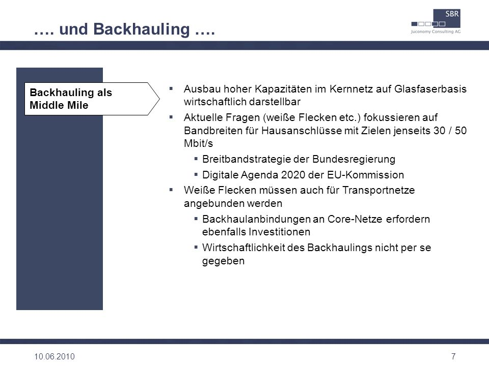 …. und Backhauling …. Backhauling als Middle Mile. Ausbau hoher Kapazitäten im Kernnetz auf Glasfaserbasis wirtschaftlich darstellbar.