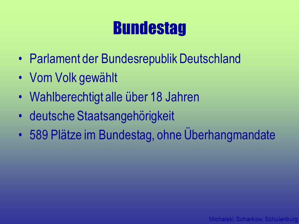 Bundestag Parlament der Bundesrepublik Deutschland Vom Volk gewählt