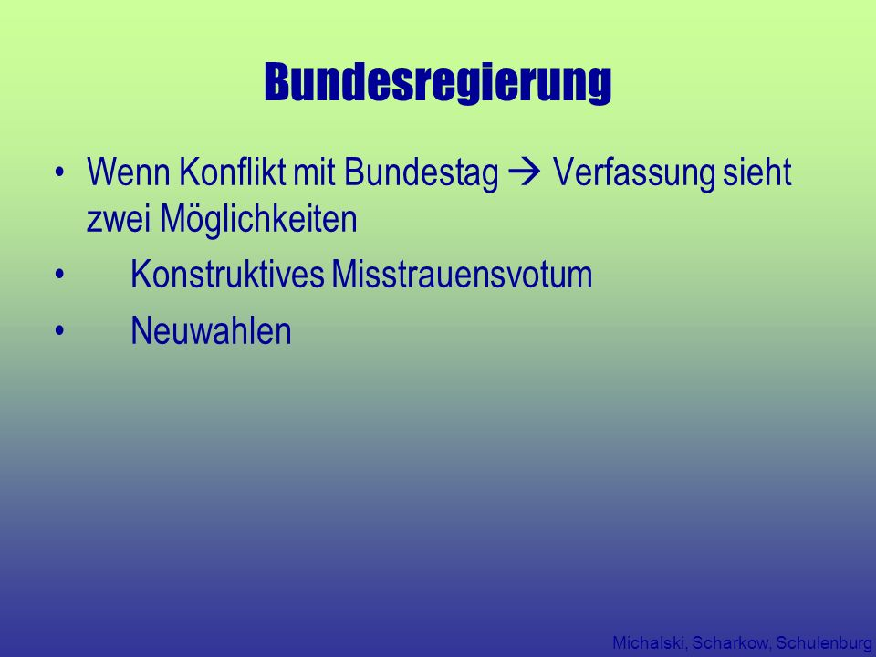 Bundesregierung Wenn Konflikt mit Bundestag  Verfassung sieht zwei Möglichkeiten. Konstruktives Misstrauensvotum.