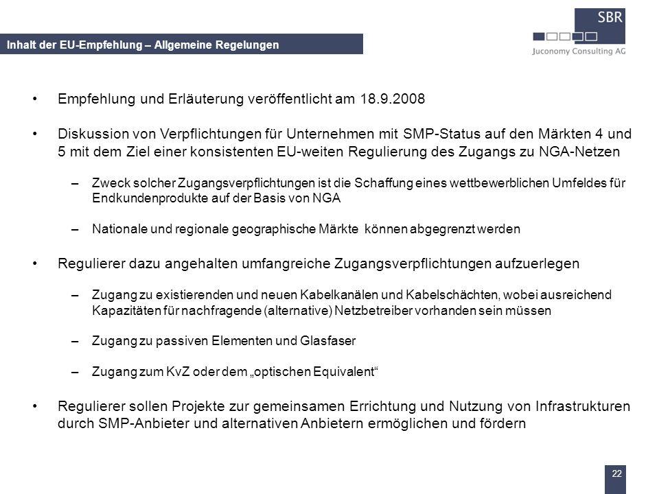 Inhalt der EU-Empfehlung – Allgemeine Regelungen