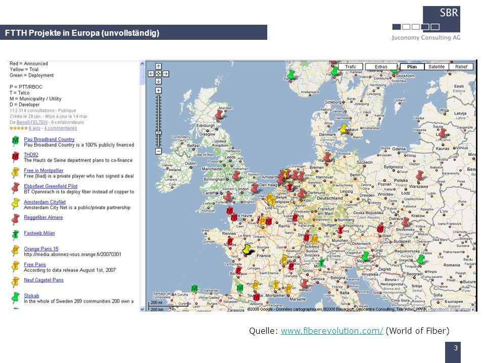 FTTH Projekte in Europa (unvollständig)
