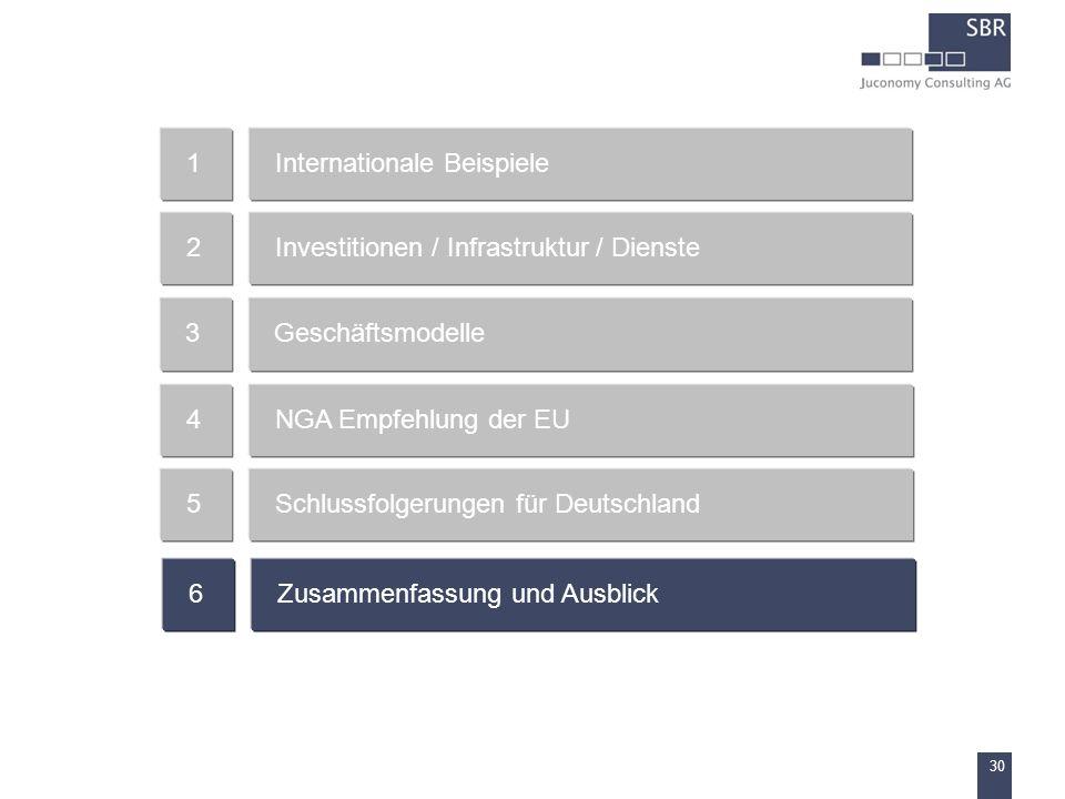 1 Internationale Beispiele. 2. Investitionen / Infrastruktur / Dienste. 3. Geschäftsmodelle. 4.