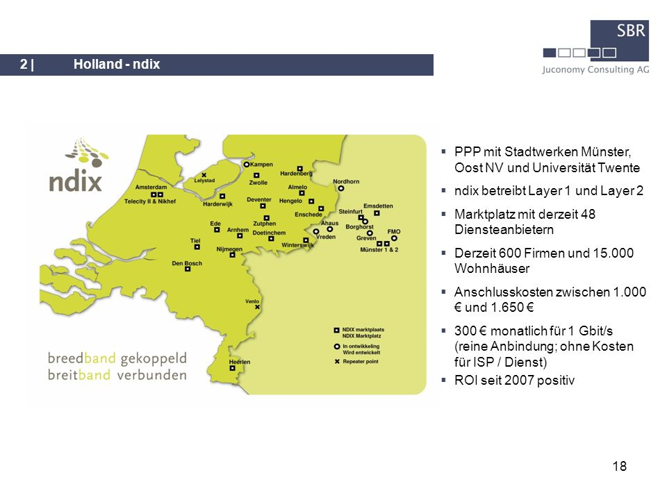 2 | Holland - ndix PPP mit Stadtwerken Münster, Oost NV und Universität Twente. ndix betreibt Layer 1 und Layer 2.