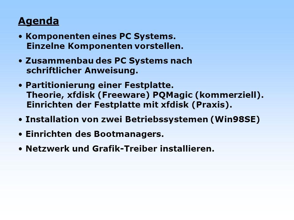 Agenda Komponenten eines PC Systems. Einzelne Komponenten vorstellen.