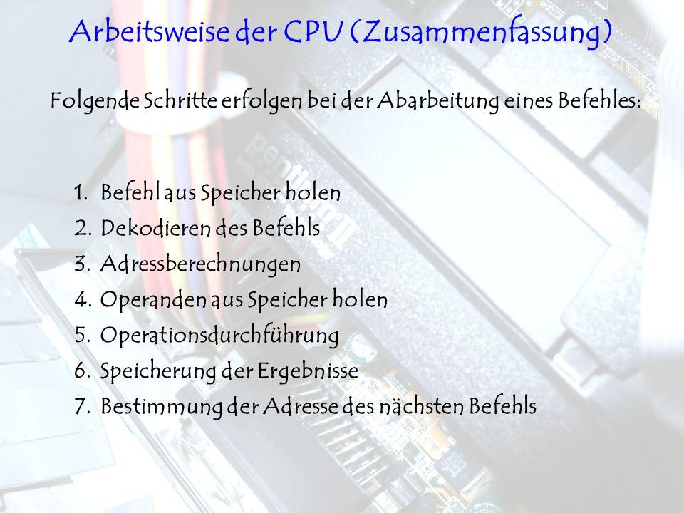 Arbeitsweise der CPU (Zusammenfassung)