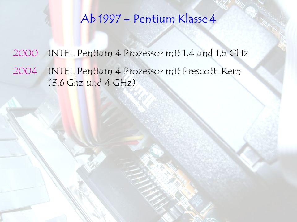 Ab 1997 – Pentium Klasse 4 2000 INTEL Pentium 4 Prozessor mit 1,4 und 1,5 GHz.