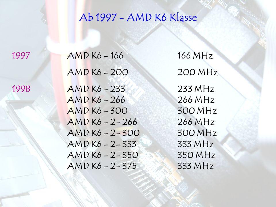 Ab 1997 - AMD K6 Klasse 1997 AMD K6 - 166 166 MHz AMD K6 - 200 200 MHz