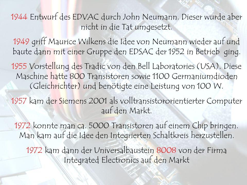 1944 Entwurf des EDVAC durch John Neumann