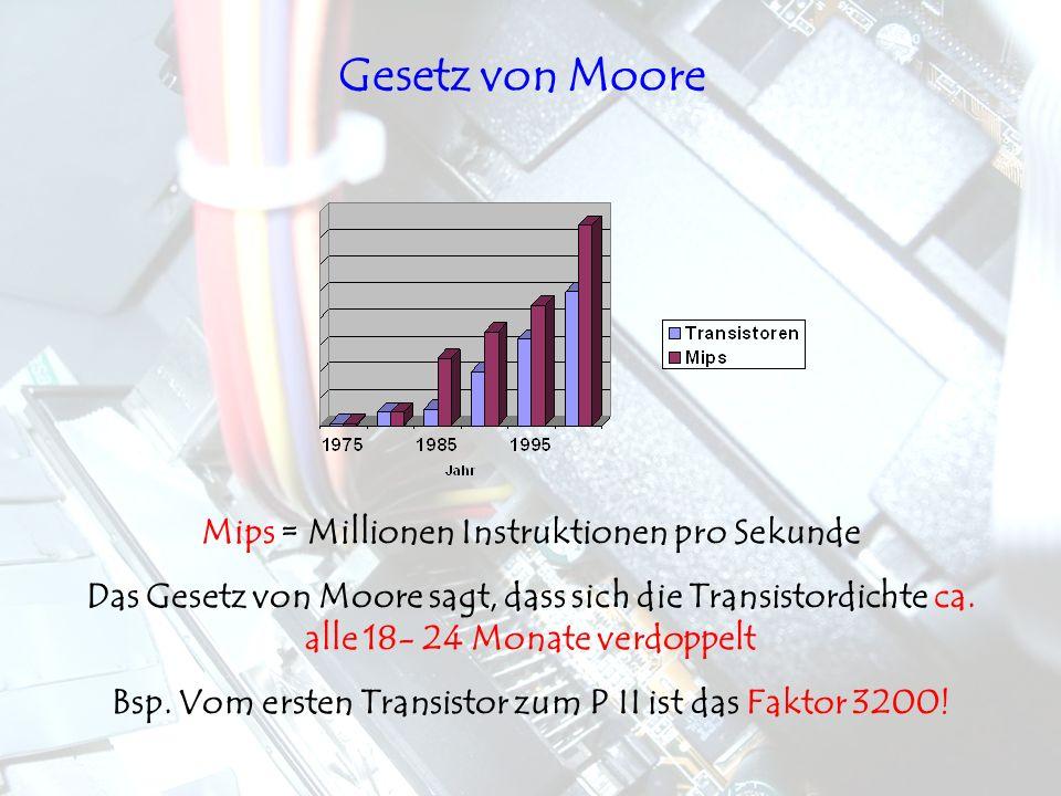 Gesetz von Moore Mips = Millionen Instruktionen pro Sekunde