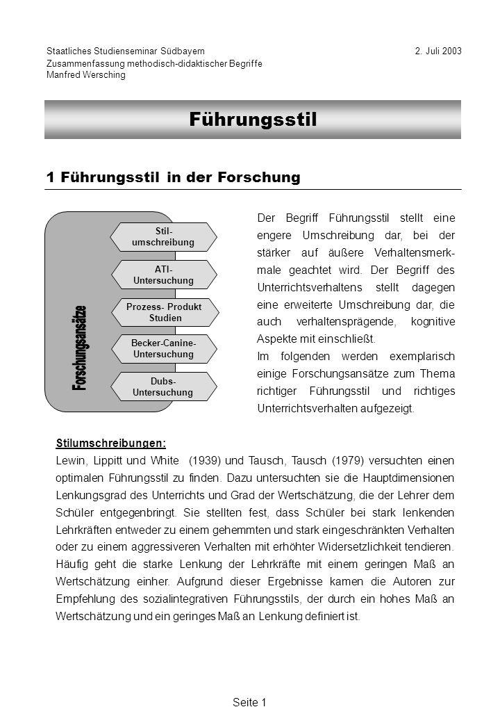 Forschungsansätze Führungsstil 1 Führungsstil in der Forschung