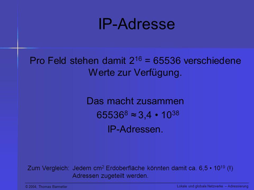 Pro Feld stehen damit 216 = 65536 verschiedene Werte zur Verfügung.