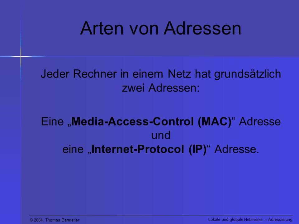 Jeder Rechner in einem Netz hat grundsätzlich zwei Adressen: