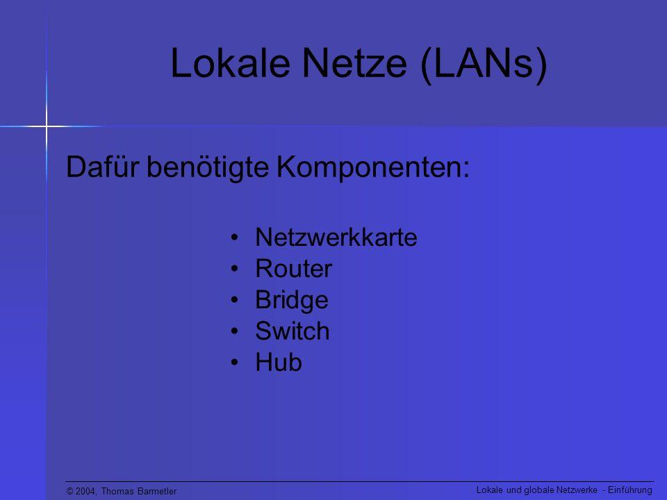 Lokale Netze (LANs) Dafür benötigte Komponenten: Netzwerkkarte Router