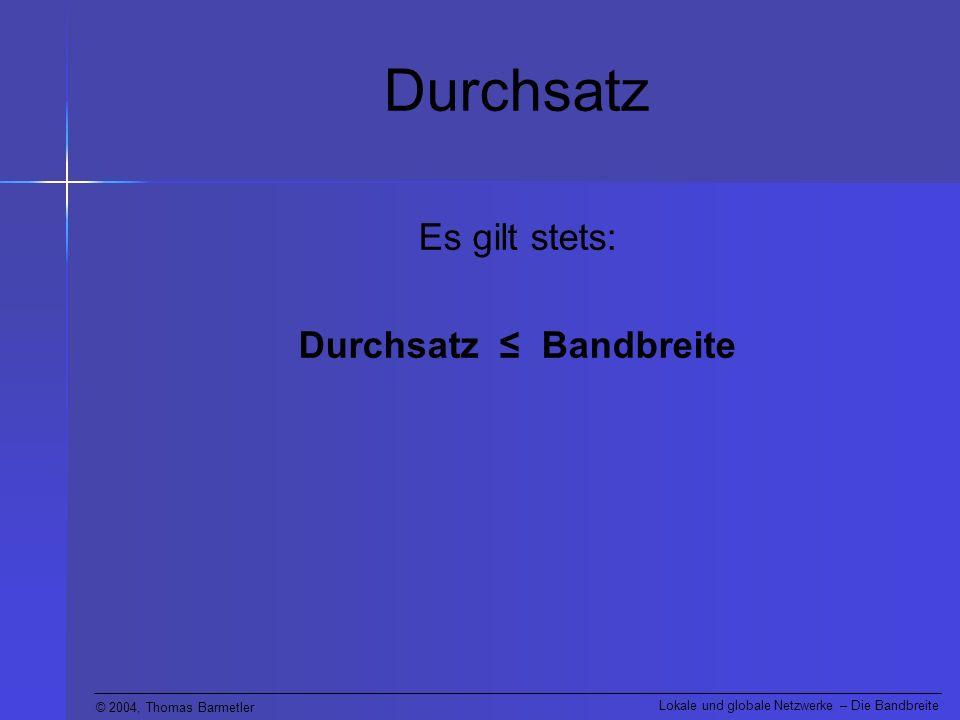 Durchsatz ≤ Bandbreite