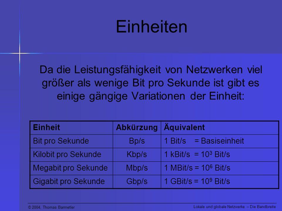 Einheiten Da die Leistungsfähigkeit von Netzwerken viel größer als wenige Bit pro Sekunde ist gibt es einige gängige Variationen der Einheit: