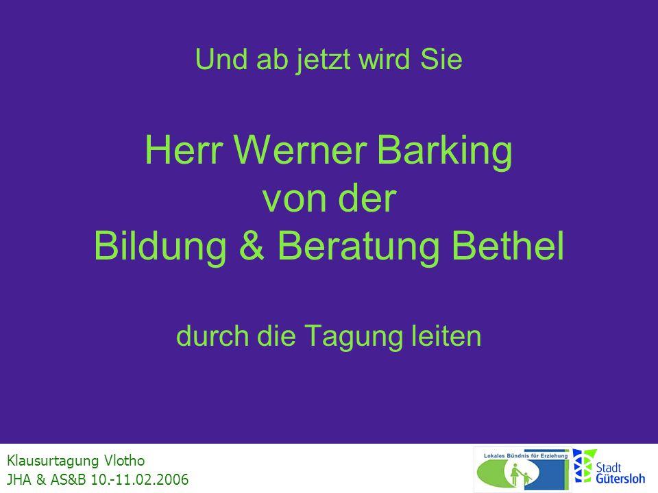 Und ab jetzt wird Sie Herr Werner Barking von der Bildung & Beratung Bethel durch die Tagung leiten