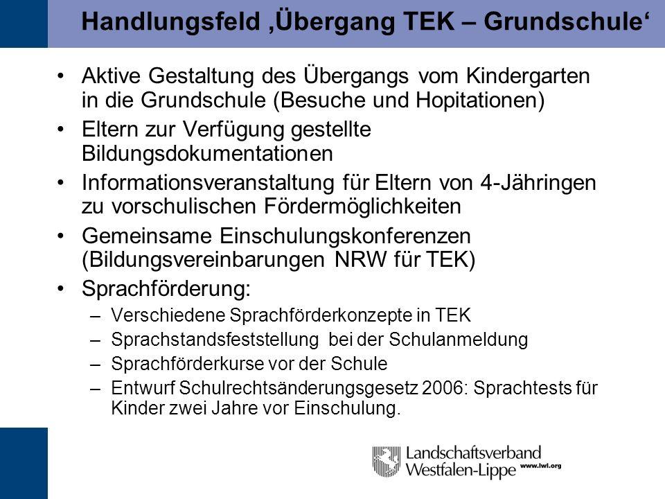 Handlungsfeld 'Übergang TEK – Grundschule'