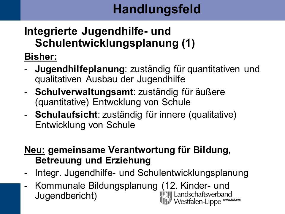 Handlungsfeld Integrierte Jugendhilfe- und Schulentwicklungsplanung (1) Bisher: