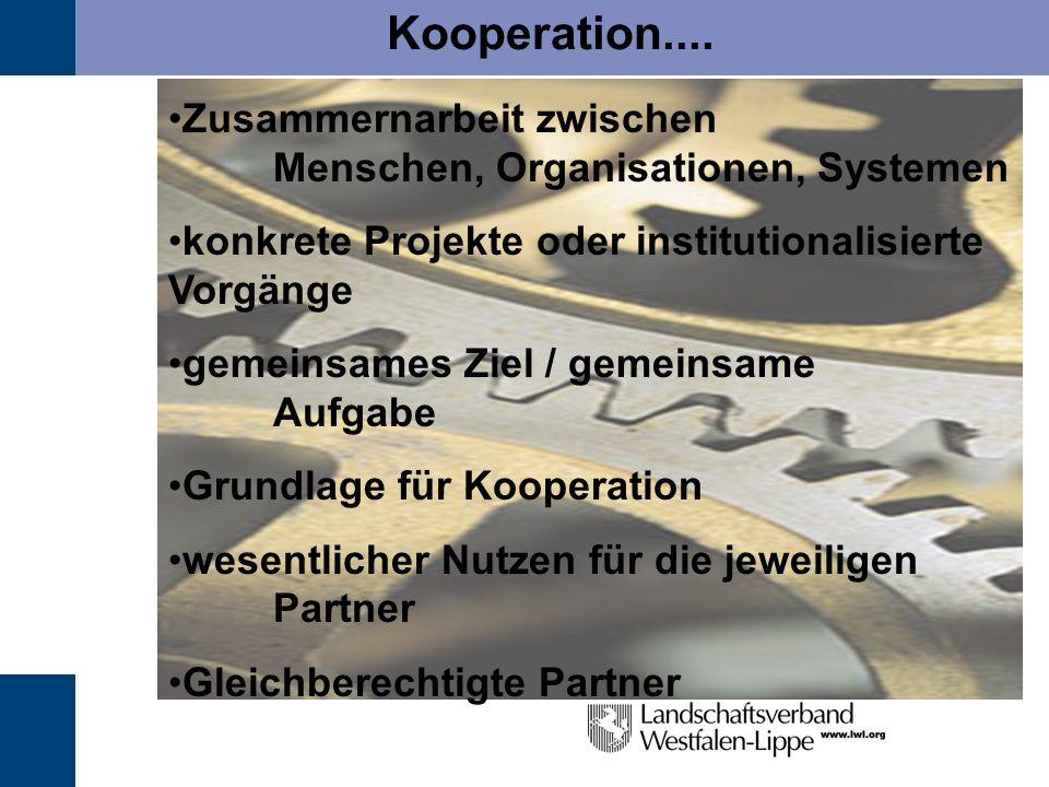Kooperation.... Zusammernarbeit zwischen Menschen, Organisationen, Systemen.