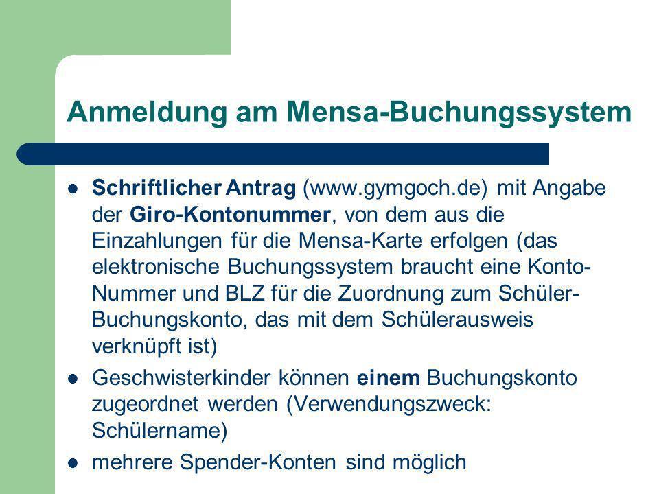 Anmeldung am Mensa-Buchungssystem