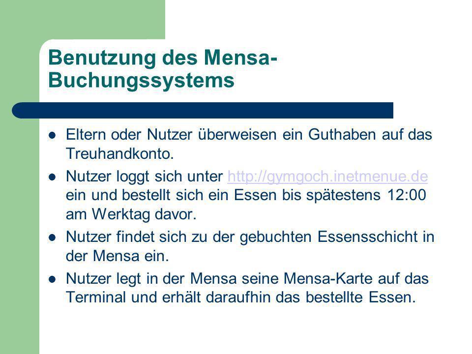 Benutzung des Mensa-Buchungssystems
