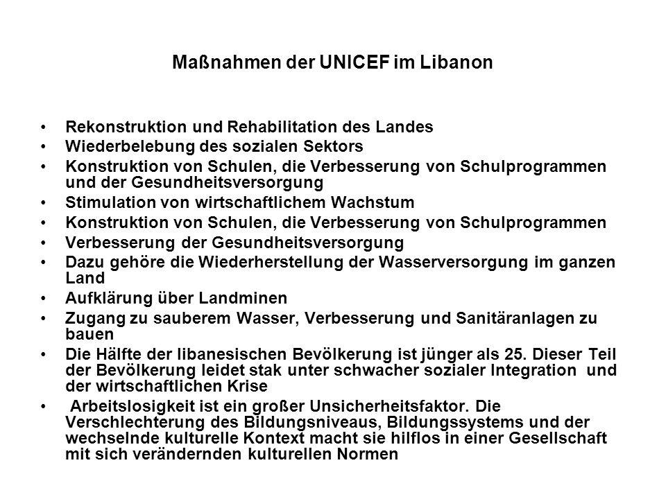 Maßnahmen der UNICEF im Libanon