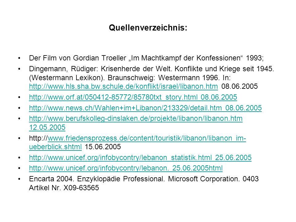 """Quellenverzeichnis: Der Film von Gordian Troeller """"Im Machtkampf der Konfessionen 1993;"""