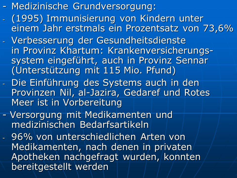 - Medizinische Grundversorgung: