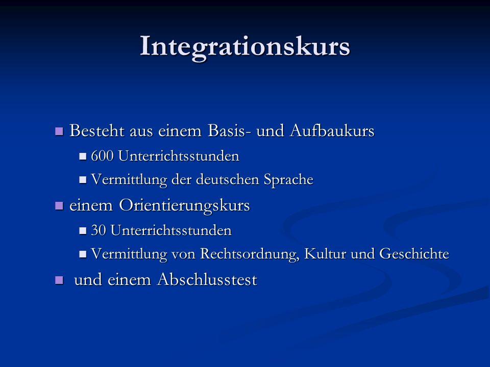 Integrationskurs Besteht aus einem Basis- und Aufbaukurs