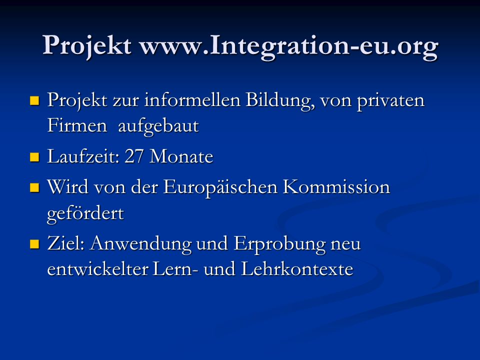 Projekt www.Integration-eu.org