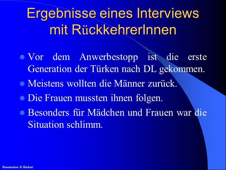 Ergebnisse eines Interviews mit RückkehrerInnen