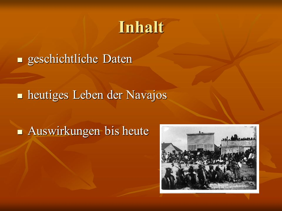 Inhalt geschichtliche Daten heutiges Leben der Navajos