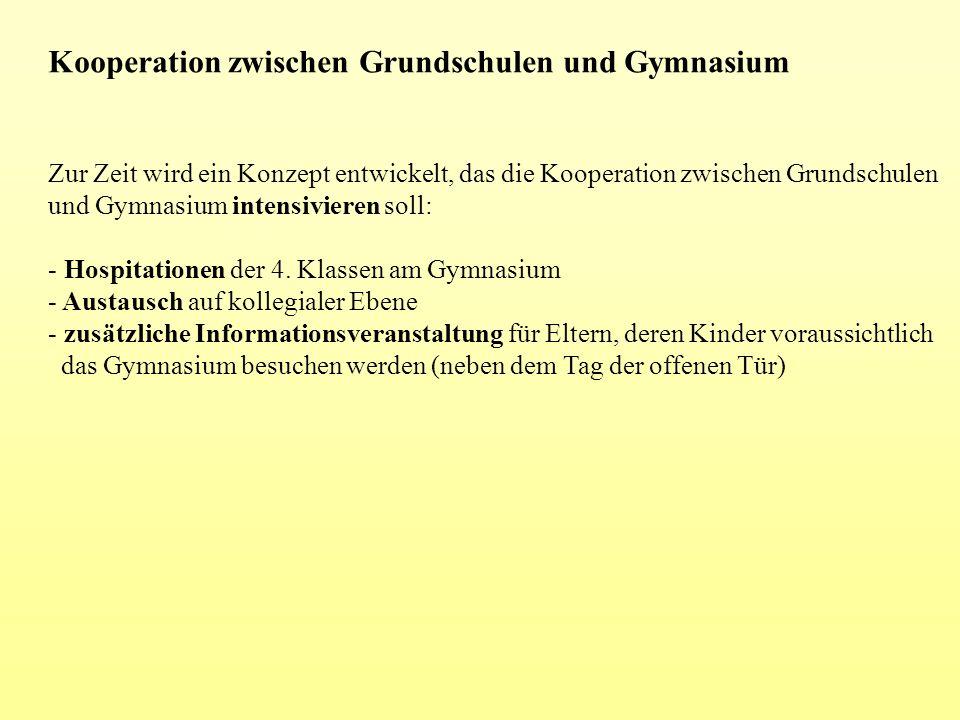 Kooperation zwischen Grundschulen und Gymnasium