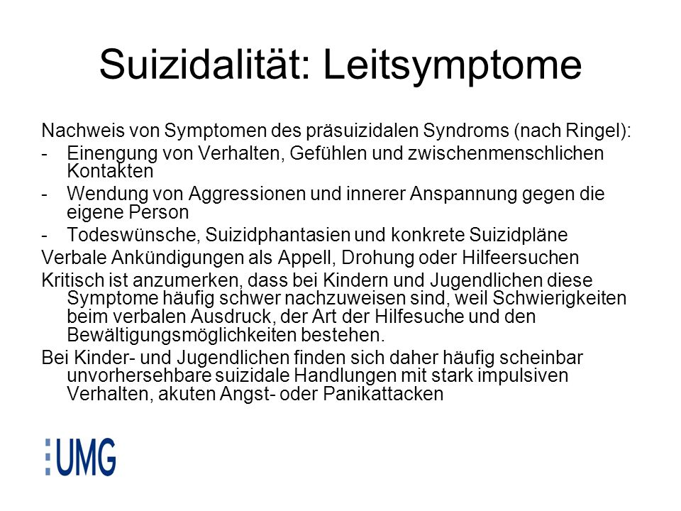 Suizidalität: Leitsymptome