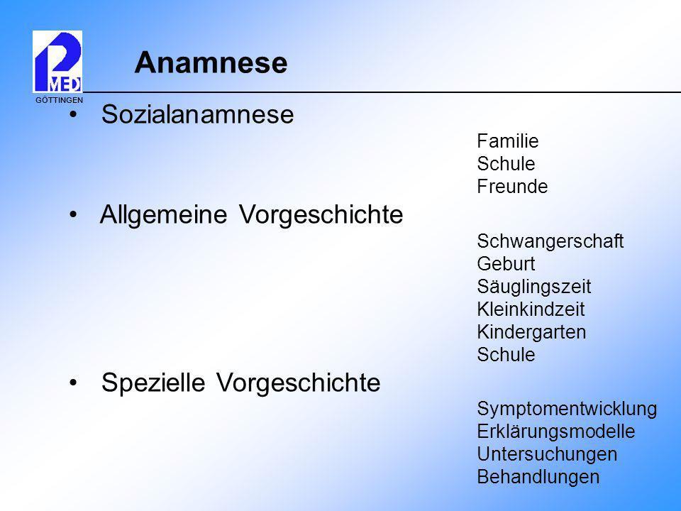 Anamnese Sozialanamnese Allgemeine Vorgeschichte