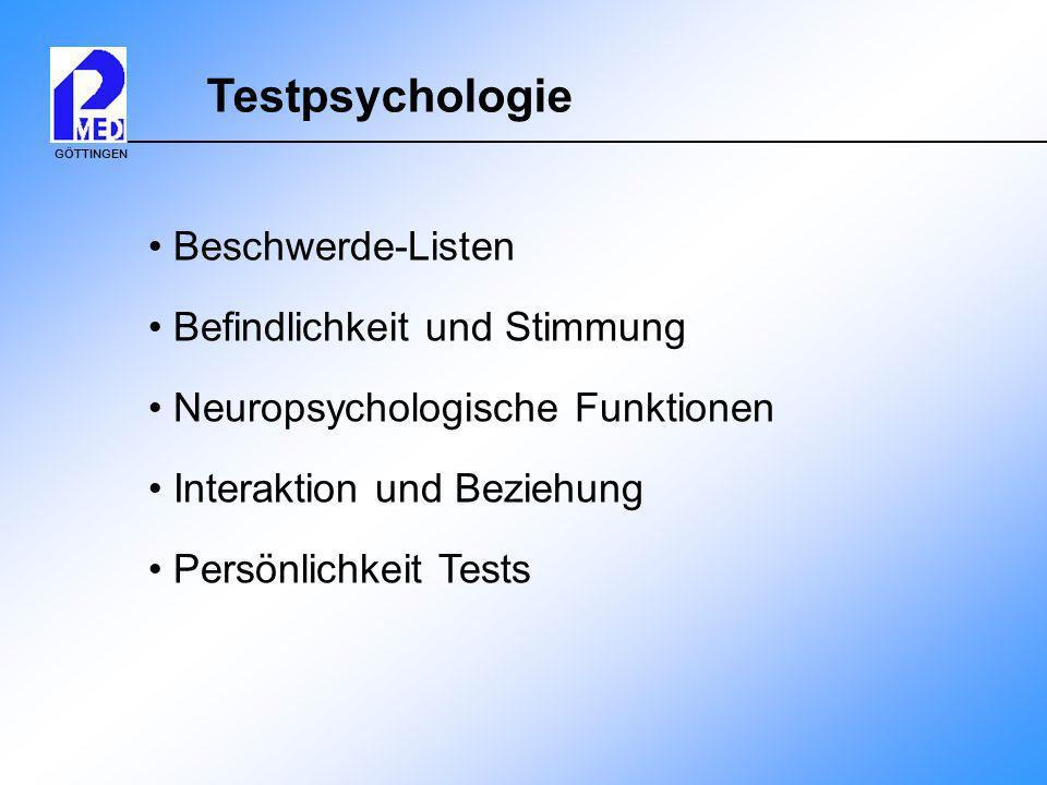Testpsychologie Beschwerde-Listen Befindlichkeit und Stimmung