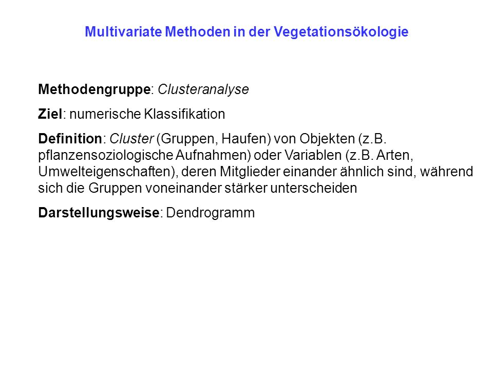 Multivariate Methoden in der Vegetationsökologie