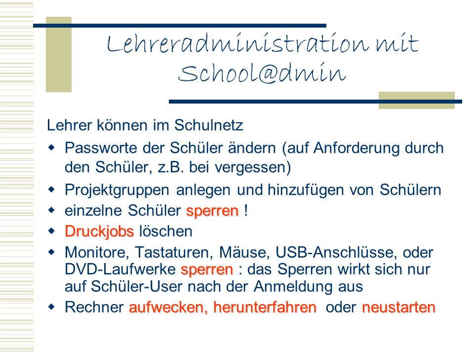 Lehreradministration mit School@dmin