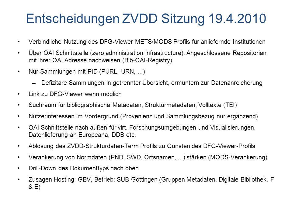 Entscheidungen ZVDD Sitzung 19.4.2010