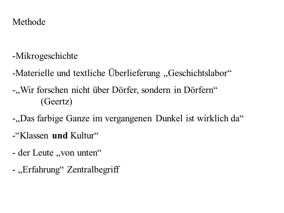 """Methode Mikrogeschichte. -Materielle und textliche Überlieferung """"Geschichtslabor """"Wir forschen nicht über Dörfer, sondern in Dörfern (Geertz)"""
