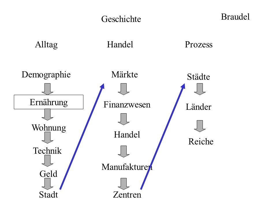 Braudel Geschichte. Alltag. Handel. Prozess. Demographie. Märkte. Städte. Ernährung. Finanzwesen.