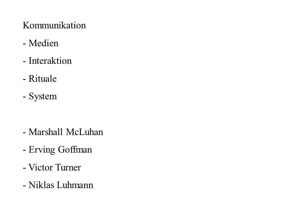 Kommunikation - Medien. - Interaktion. - Rituale. - System. - Marshall McLuhan. - Erving Goffman.