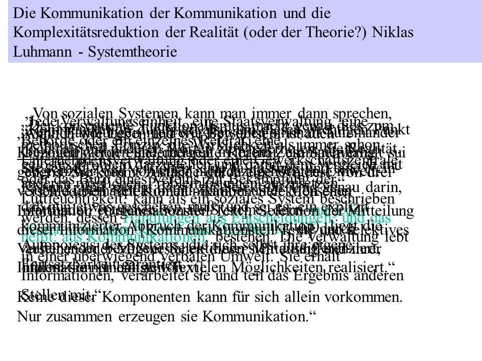 Die Kommunikation der Kommunikation und die Komplexitätsreduktion der Realität (oder der Theorie ) Niklas Luhmann - Systemtheorie