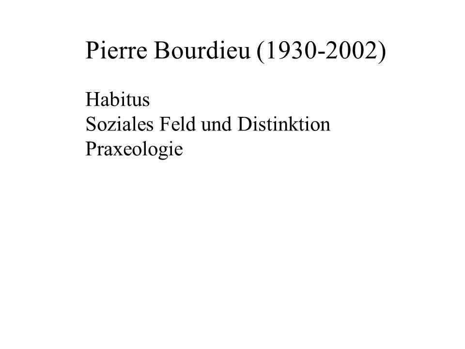 Pierre Bourdieu (1930-2002) Habitus Soziales Feld und Distinktion
