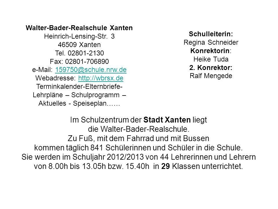 Im Schulzentrum der Stadt Xanten liegt die Walter-Bader-Realschule.