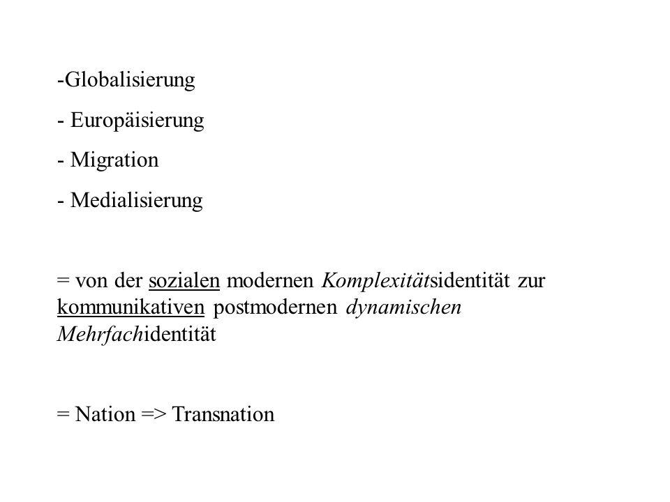 Globalisierung Europäisierung. Migration. Medialisierung.