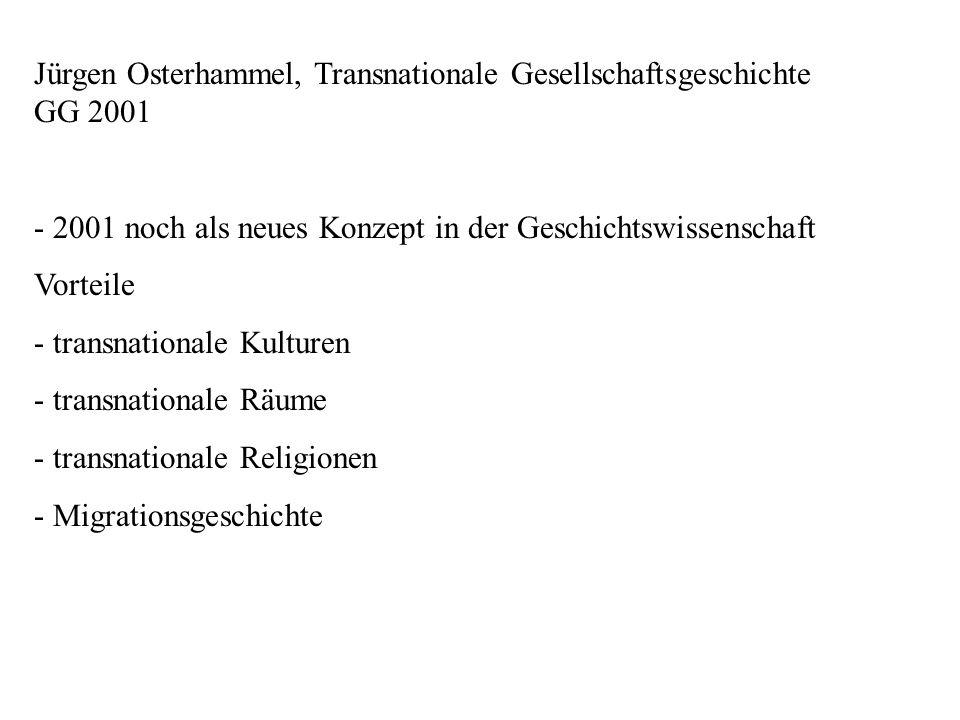 Jürgen Osterhammel, Transnationale Gesellschaftsgeschichte GG 2001