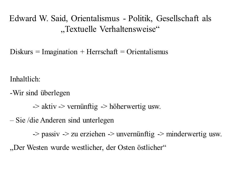 """Edward W. Said, Orientalismus - Politik, Gesellschaft als """"Textuelle Verhaltensweise"""