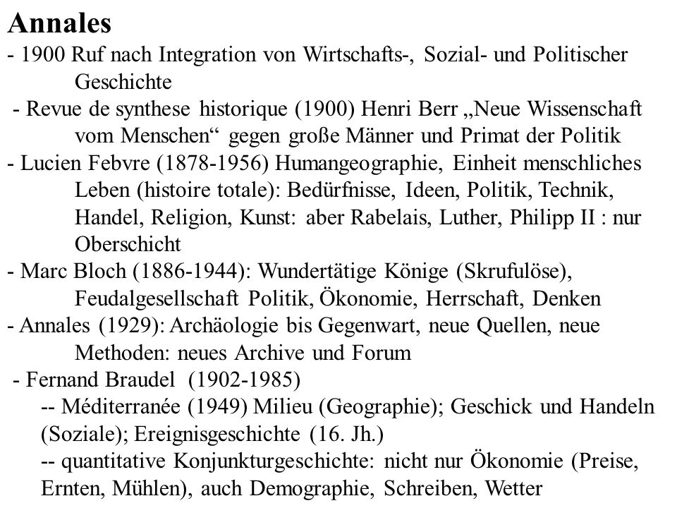 Annales - 1900 Ruf nach Integration von Wirtschafts-, Sozial- und Politischer Geschichte.